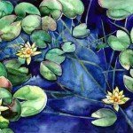 'waterlilies' watercour on paper £185.00, framed