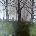 'Light Show Oughtibride Woods' Acrylic on canvas 600 x 600 framed - £200.00